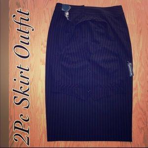 2 Pc Pinstriped Vest / Pencil Skirt Suit, Stretch